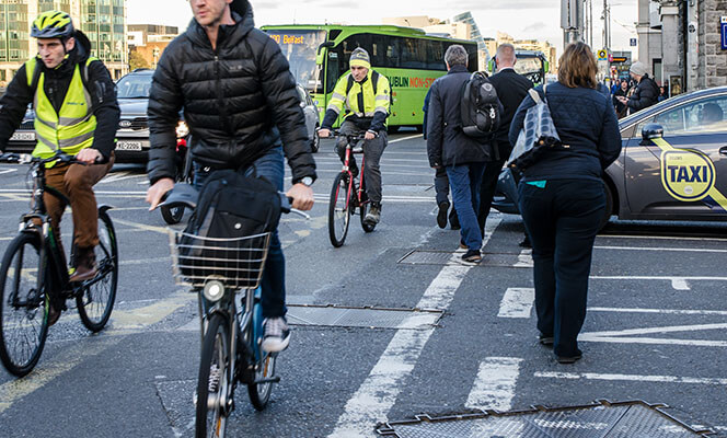people cycling in Dublin