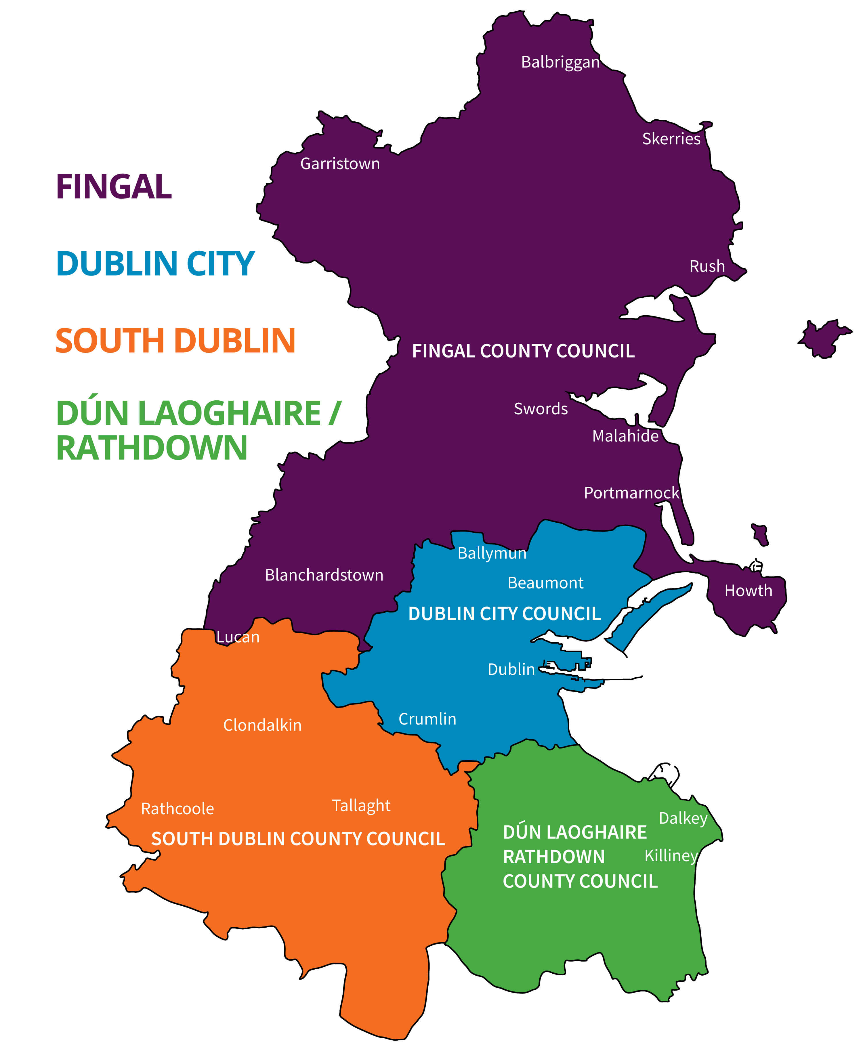 Dublin local authorities boundary map