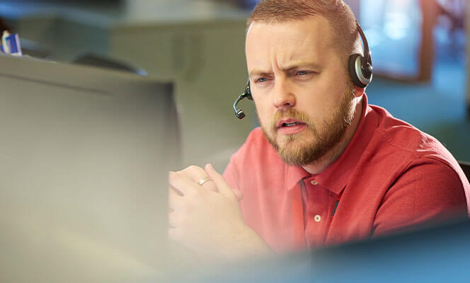 man talking on phone headset