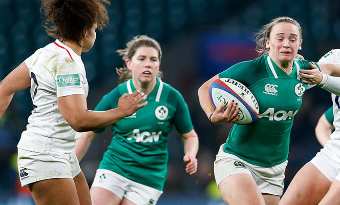 Irish Women's Rugby team in action at Twickenham
