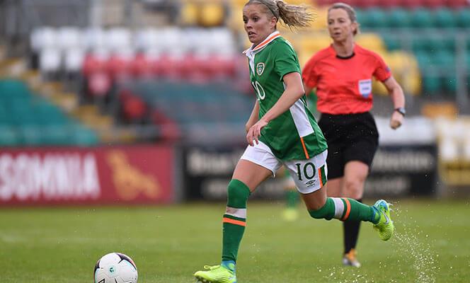 Republic of Ireland women in action at Tallaght Stadium