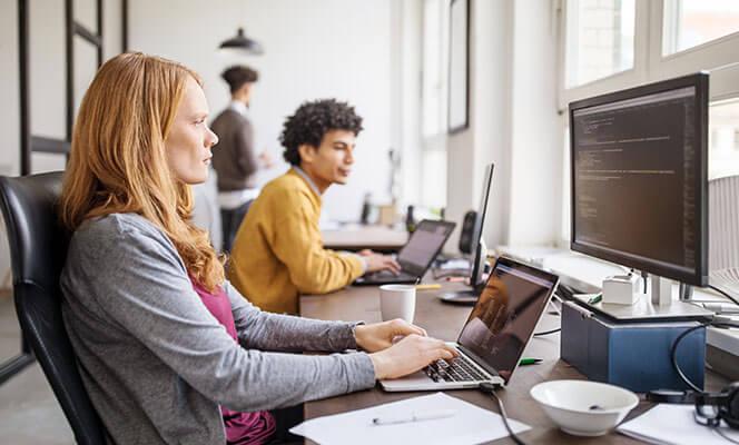 Female software programmer working