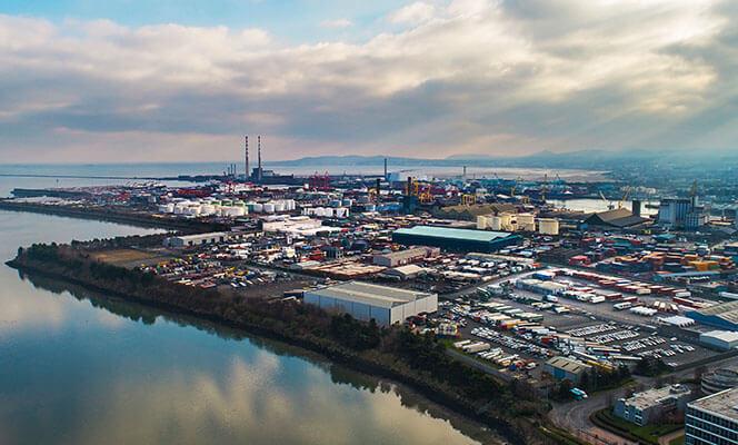 Dublin docks area aerial view