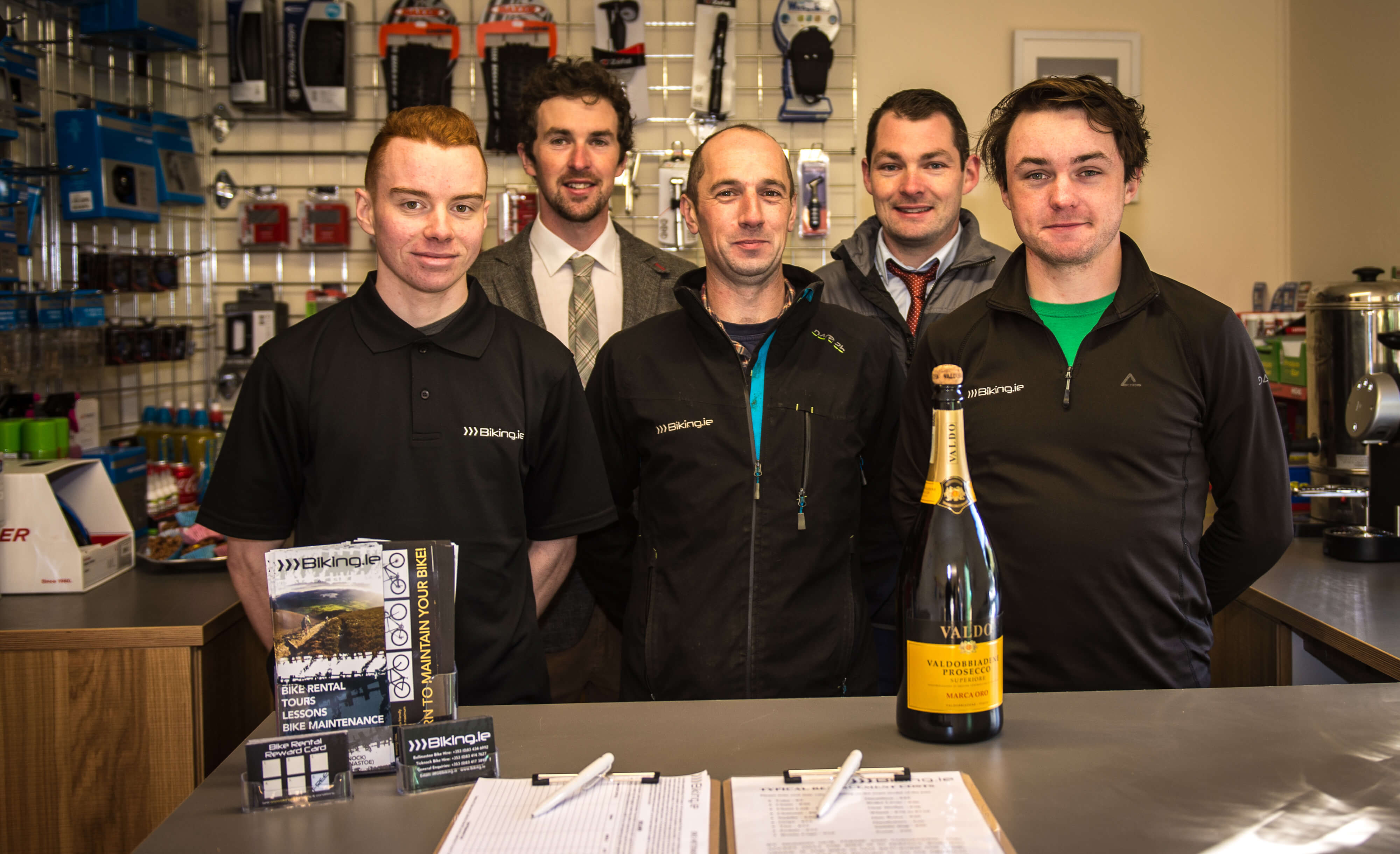Niall Davis (back left) and the Biking.ie team