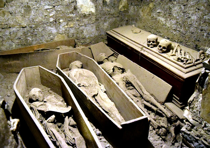 Mummified remains within the vaults of St Michan's Church